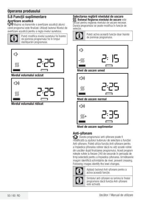manual de utilizare uscator rufe